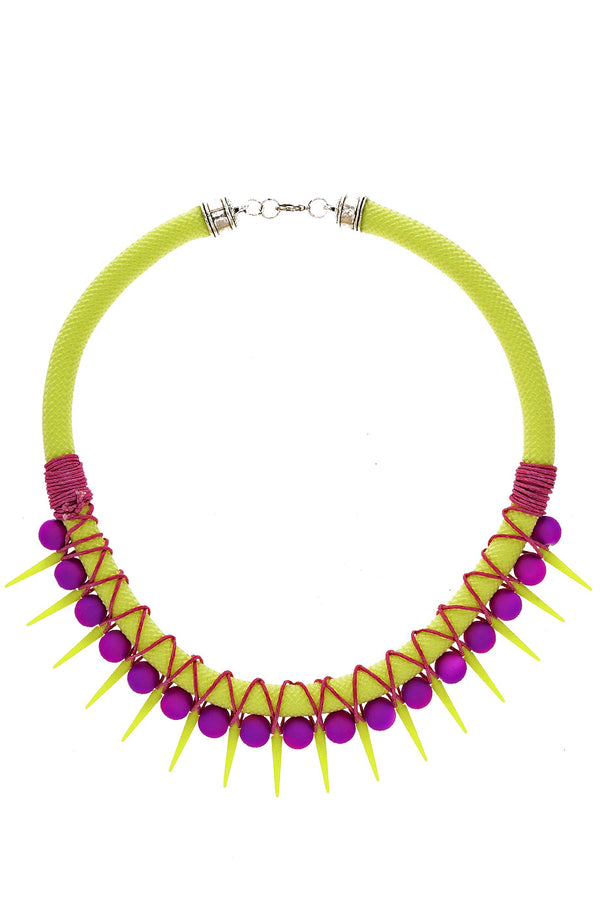 PUNKY BUBBLES Neon Yellow Purple Necklace
