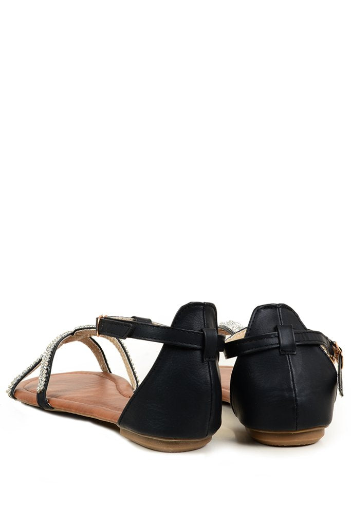 SPIDER Black Sandals with Crystals