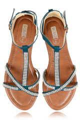 SPIDER Petrol Sandals with Crystals
