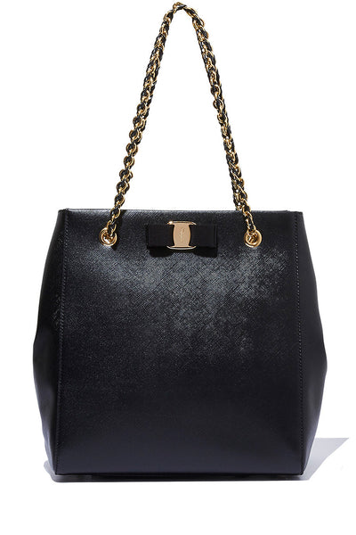 SALVATORE FERRAGAMO VARA BOW Medium Black Shoulder Tote Bag