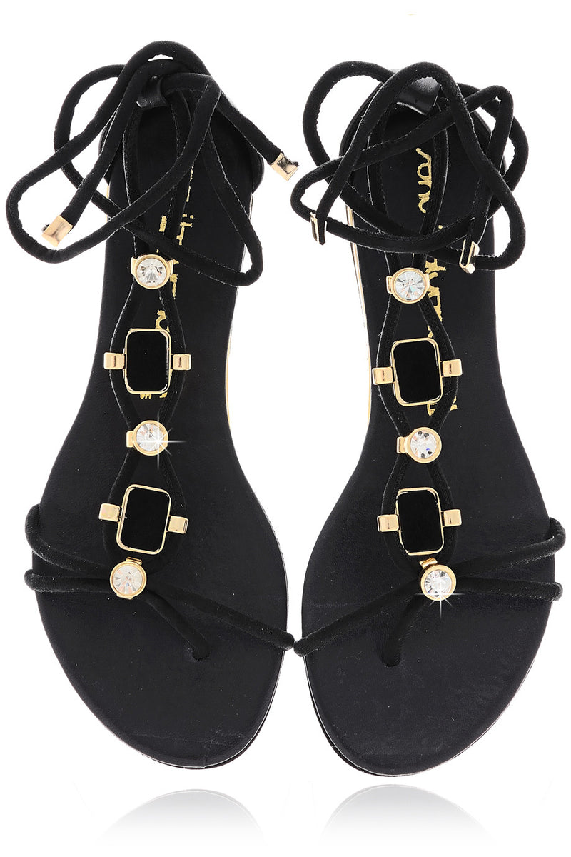 LUCILLE Black Crystal Sandals