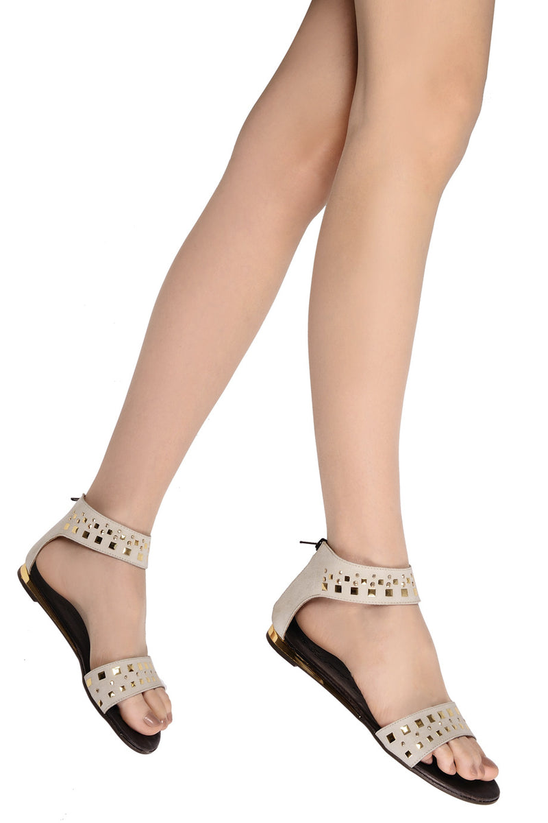JOHNETTE Grey Beige Sandals