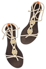 LUCILLE Beige Crystal Sandals