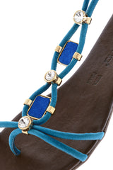 LUCILLE Indigo Blue Crystal Sandals