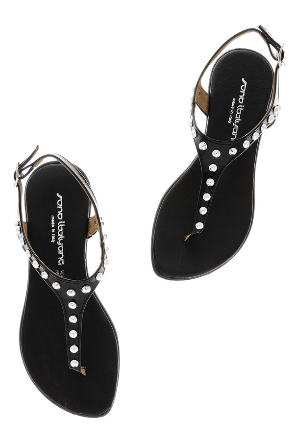 REBEKAH Black Studded Sandals