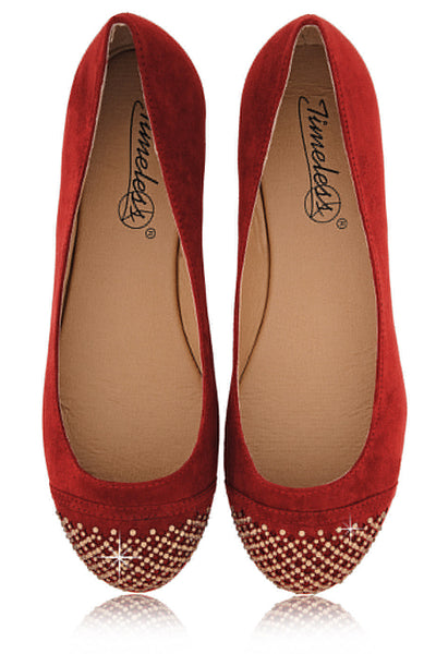 SANDRINE Red Studded Toe Ballerinas