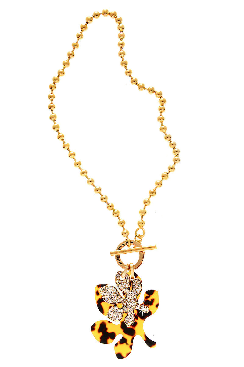 DOUBLE LEAF Tortoise Gold Necklace