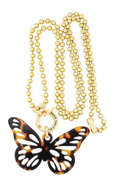 BUTTERFLY LOVE Gold Matte Long Pendant