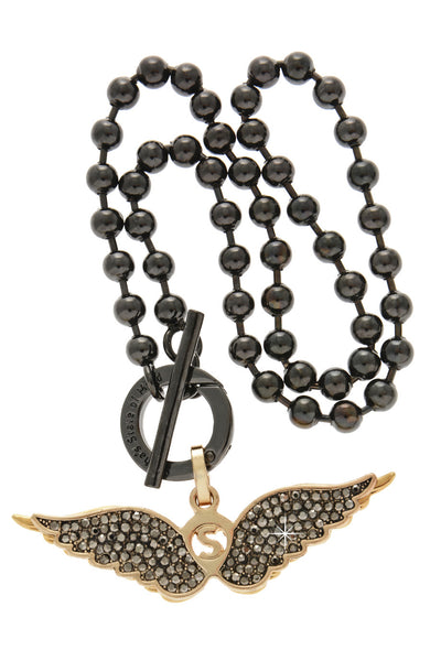GOLDEN WINGS Black Crystal Necklace