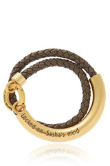 LOCKED Brown Snake Leather Bracelet