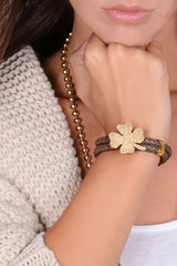 LUCKY CLOVER Brown Leather Bracelet