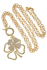 LUCKY CLOVER Gold Crystal Pendant