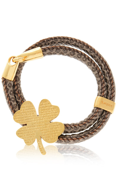 LUCKY CLOVER Snake Brown Leather Bracelet