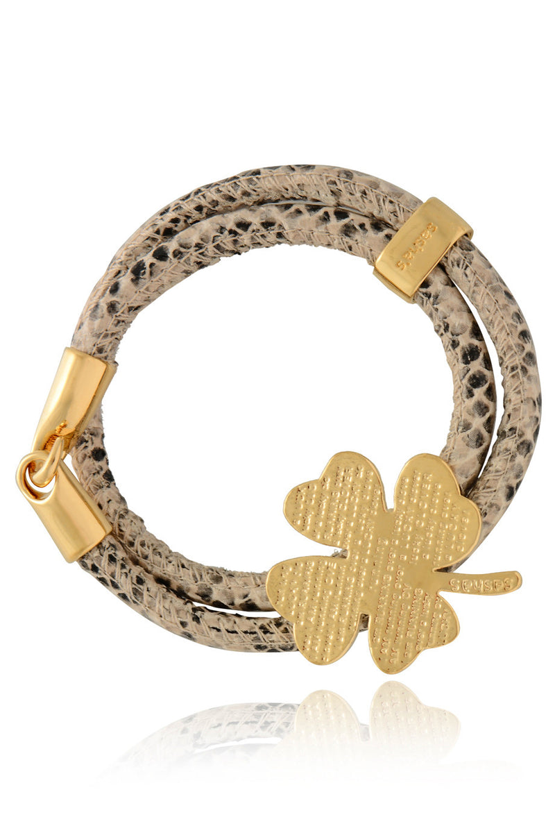 LUCKY CLOVER Snake Cream Leather Bracelet