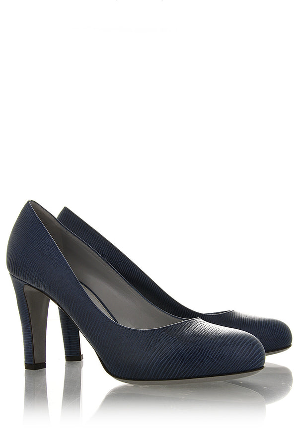 SNAKE Blue Leather Pumps