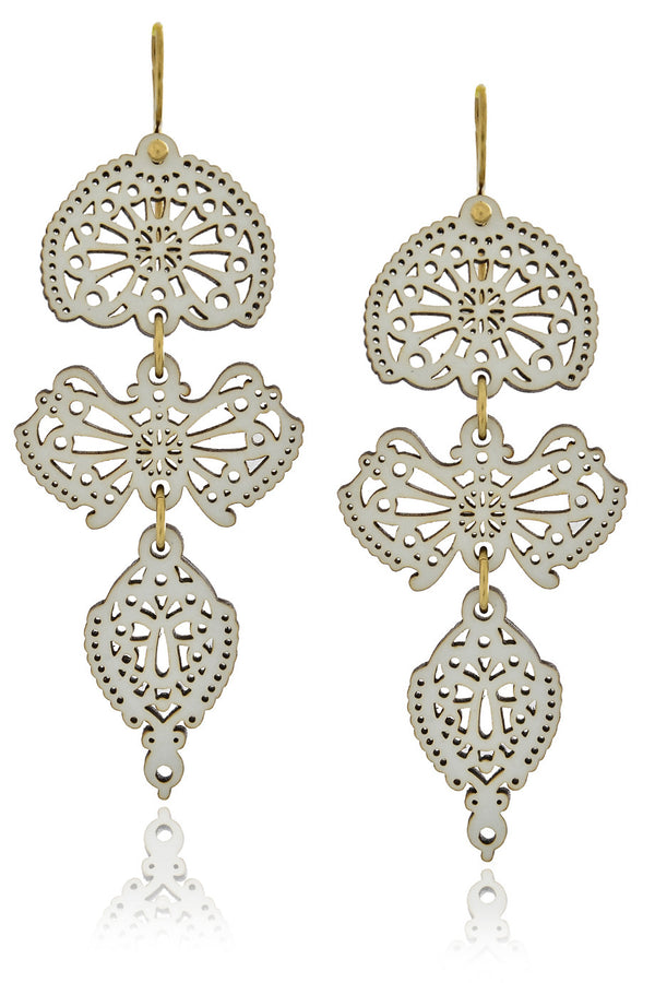 LEAVES White Wooden Earrings
