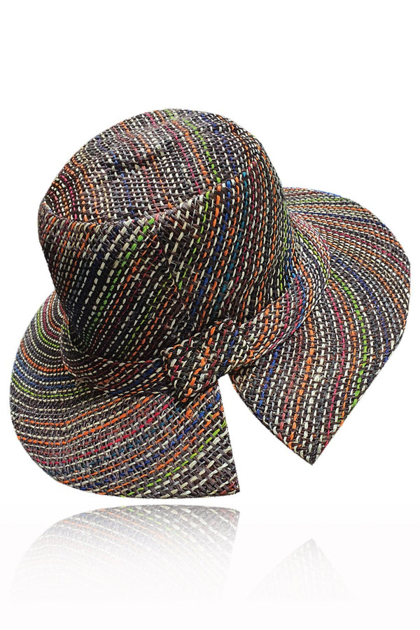 Maeve Blue Multicolor Handmade Madagascar Hat