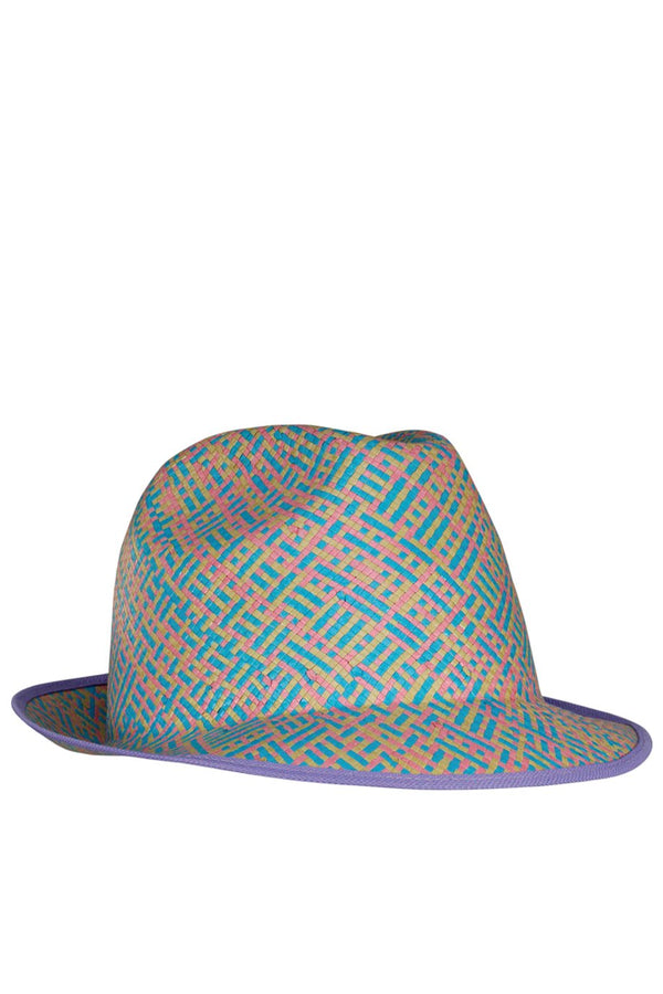 Sharrie Blue Multicolor Straw Beach Hat