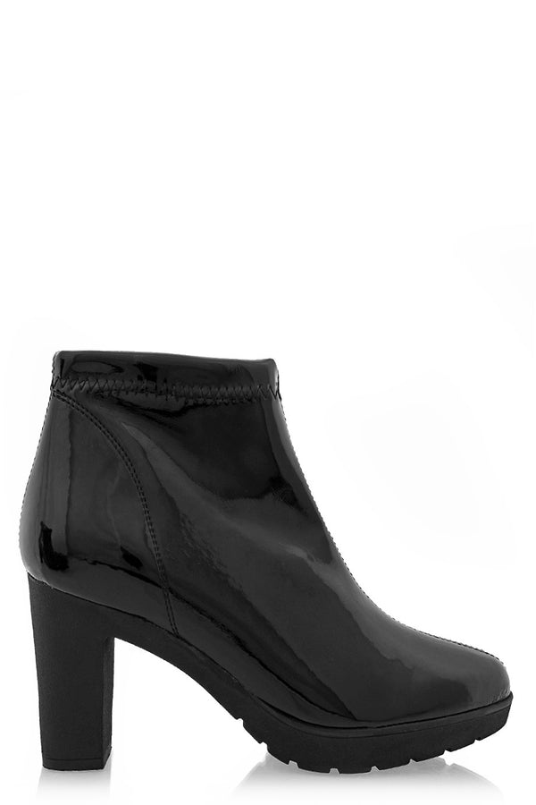 JULIA Black Patent Leather Ankle Boots