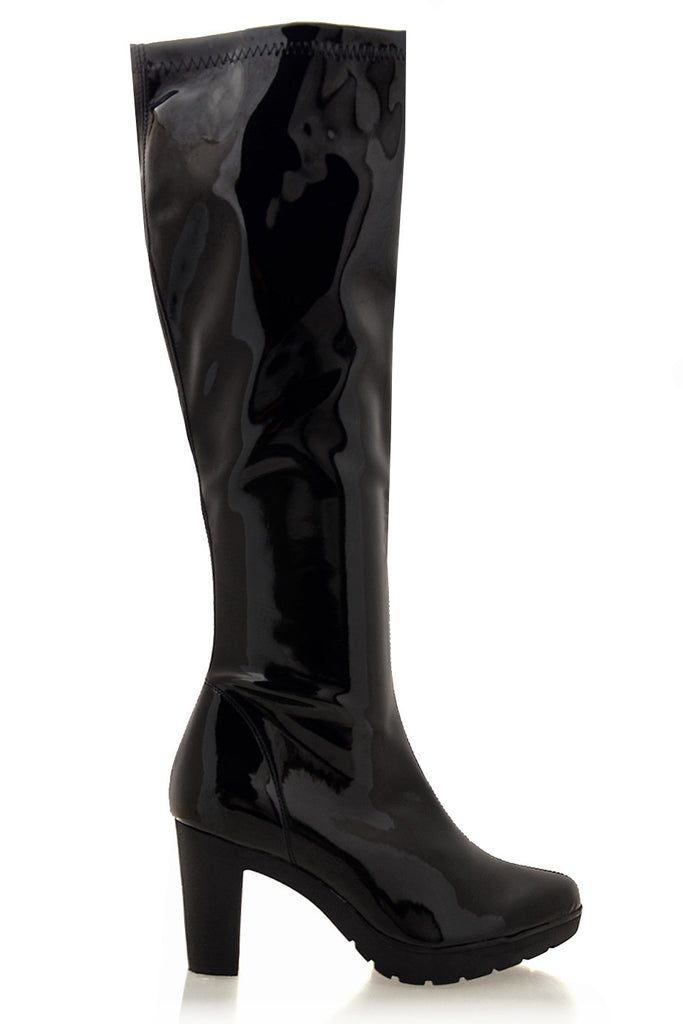 SAVAGE Black Patent Leather Boots