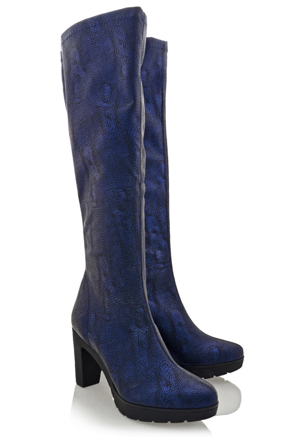 SAVAGE Blue Leather Boots