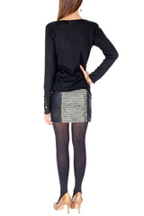 ALIA Black Gold Metallic Mini Skirt