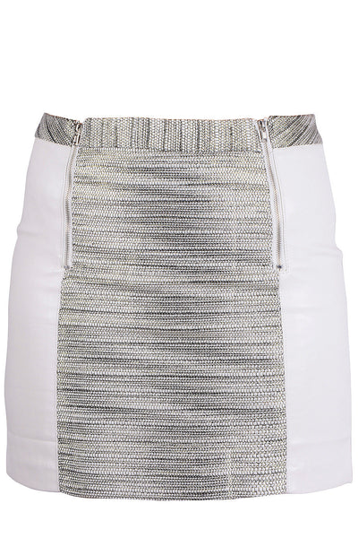 ALIA White Silver Metallic Mini Skirt