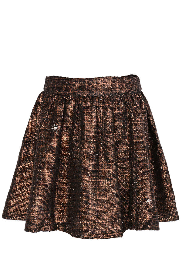 AZELIN Metallic Brown Mini Skirt