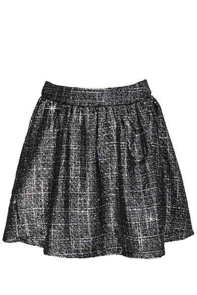 AZELIN Metallic Grey Mini Skirt