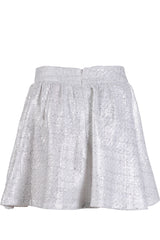 AZELIN Metallic White Mini Skirt