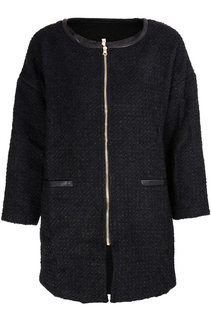 BEATRICE Black Tweed Coat