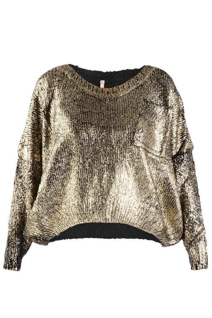 BLIZZ Metallic Black Knit Jumper