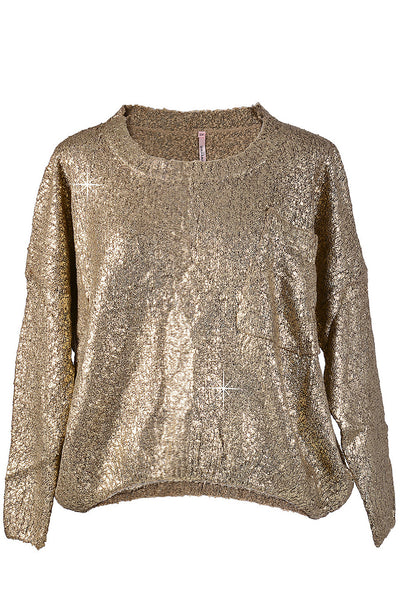 BLIZZ Metallic Gold Knit Jumper