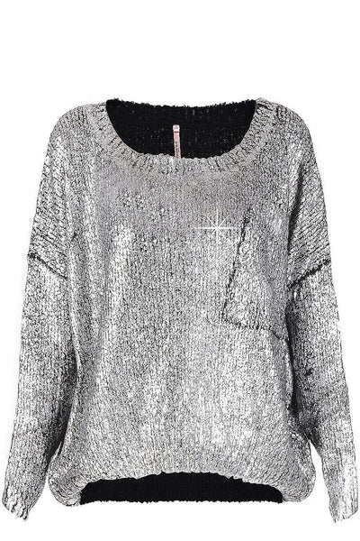 BLIZZ Metallic Silver Knit Jumper