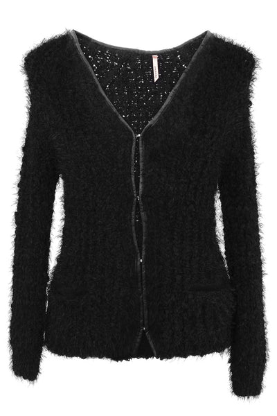 CUTIE Black Fluffy Cardigan