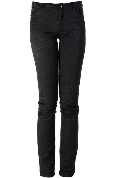 IRA Black Snake-Print Trousers