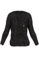 KUDDLES Black Fluffy Jumper