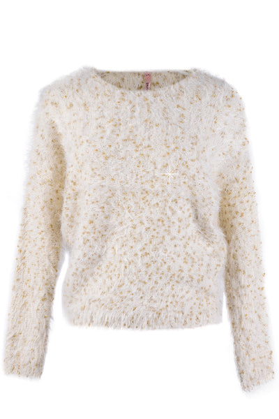 ROSEMARY Beige Gold Fluffy Jumper