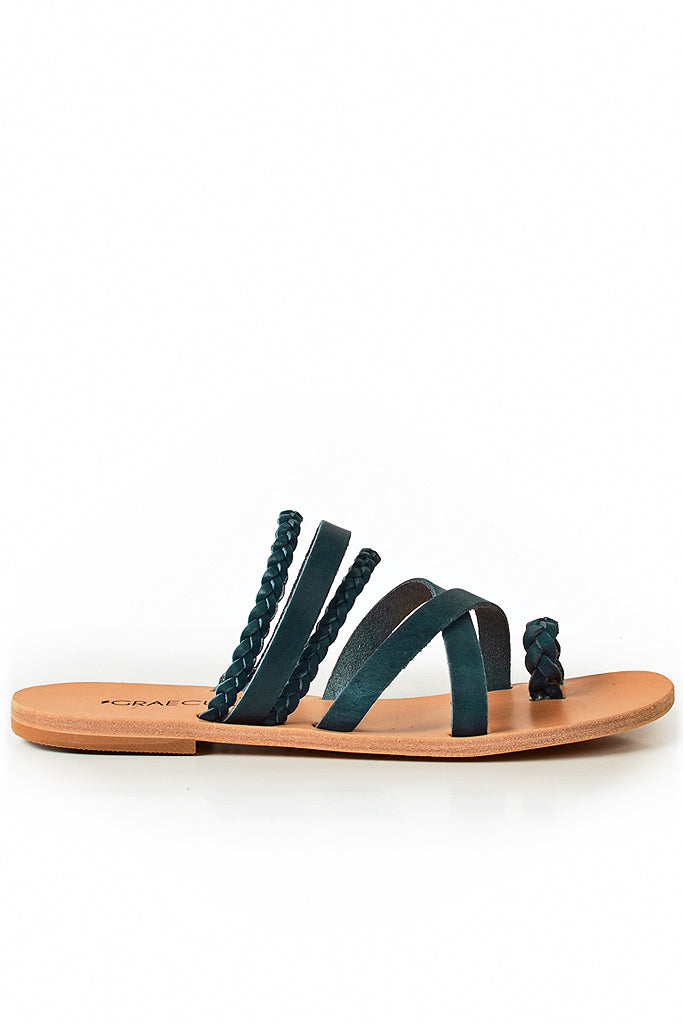 GRAECUS THEMIS Blue Leather Sandals
