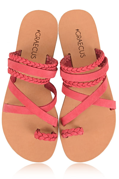 GRAECUS THEMIS Pink Leather Sandals