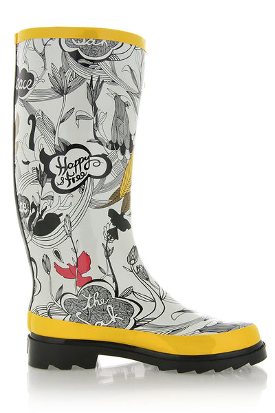 PEACE Yellow Rain Boots