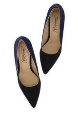 AUBREY Navy Black Suede Pumps