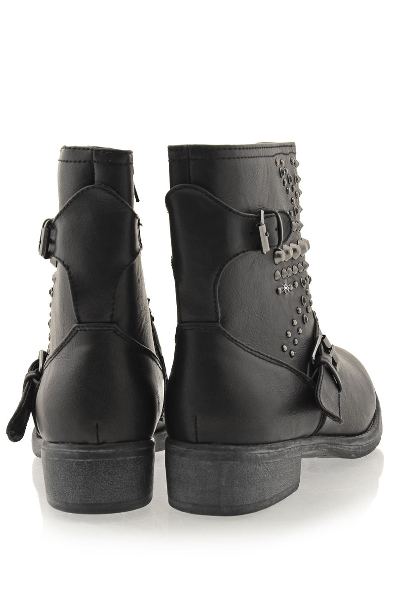 TIMELESS - ABBEY Black Studded Ankle Boots - Women Shoes Ankle Boots