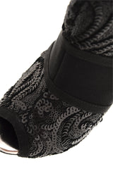 TIMELESS - ADMIRANDA Black Sequin Peep Toe Ankle Boots - Women Boots Shoes