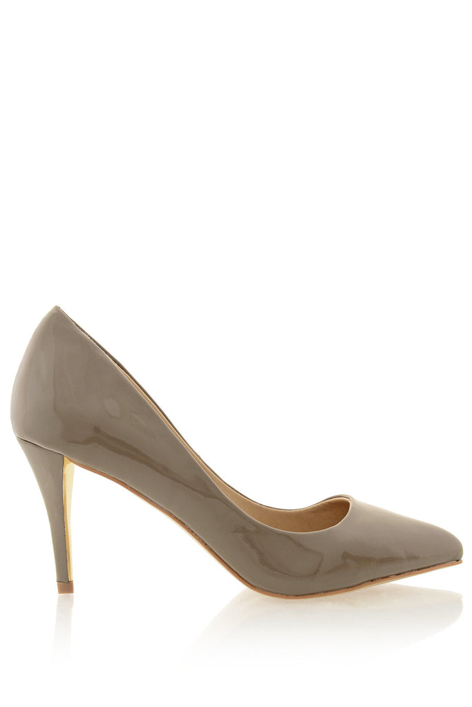 TIMELESS - AGNES Taupe Patent Court Pumps - Women Shoes - Heels