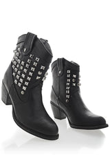 ALISHA Black Studded Ankle Boots