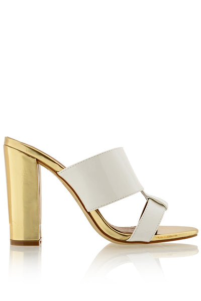 AMY White Gold Mules