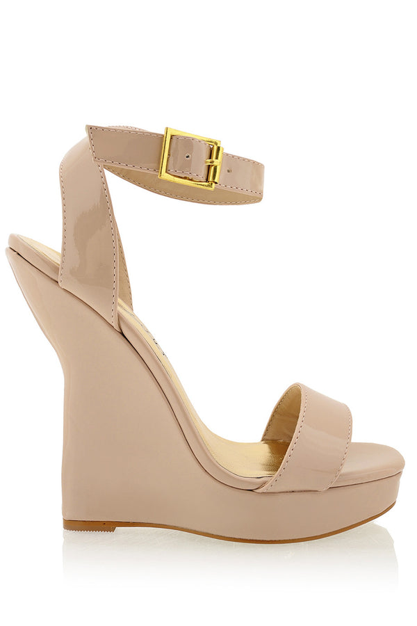 TIMELESS - ANDREA Nude Patent Platform Sandals - Women Shoes