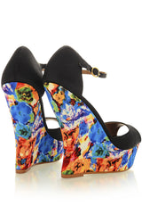 BLOSSOMS Black Ankle Strap Wedges