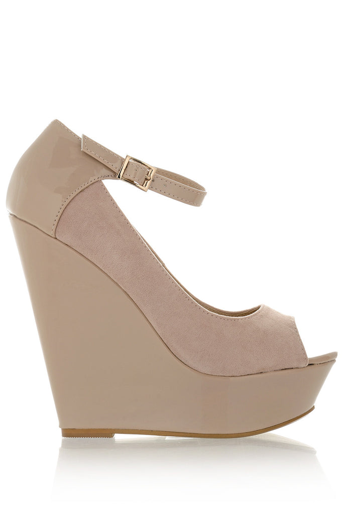 BOTINA Nude Ankle Strap Wedges
